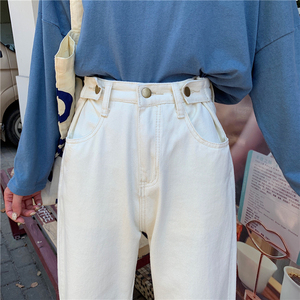 Image 5 - Jeans Women High Quality Denim Long Trousers Streetwear Korean Style Harajuku Straight Students Adjustable Waist Womens Elegant