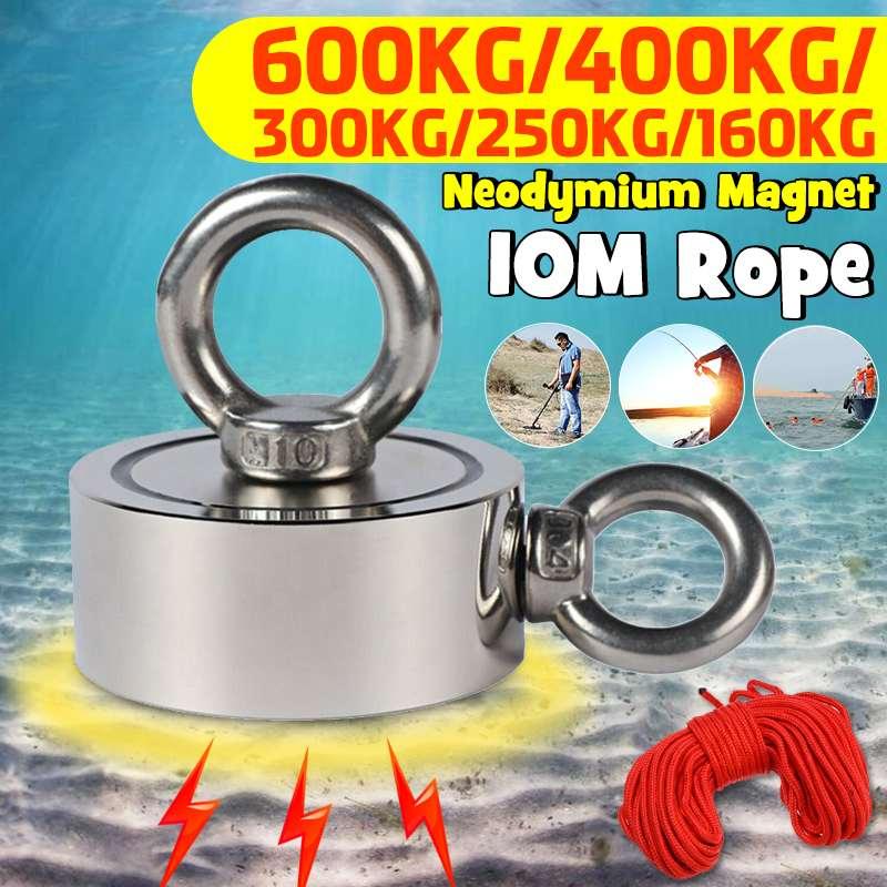 Мощный магнит 600 кг, рыболовный магнит, глубинный морской спасательный магнитный крючок, постоянный Неодимовый магнитный рыболовный инстру...