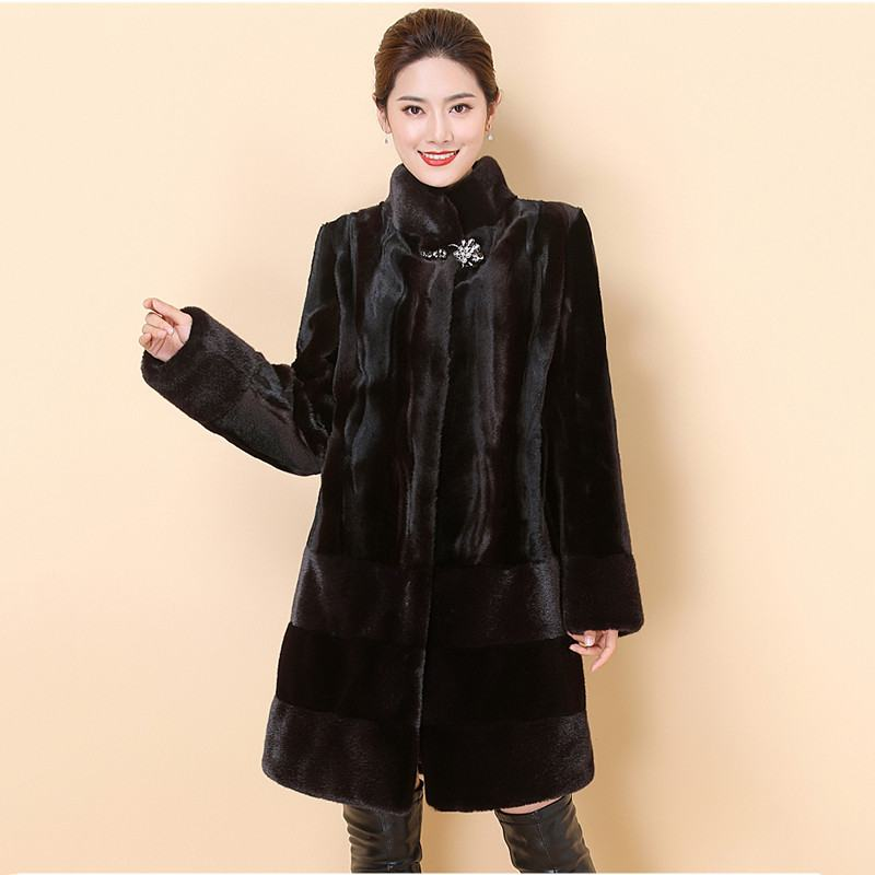 Women 2019 Winter Real Mink Fur Coat Long Natural Fur Mink Coats And Jacket Female Warm Soft Vintage Clothes Plus Size 6XL T92