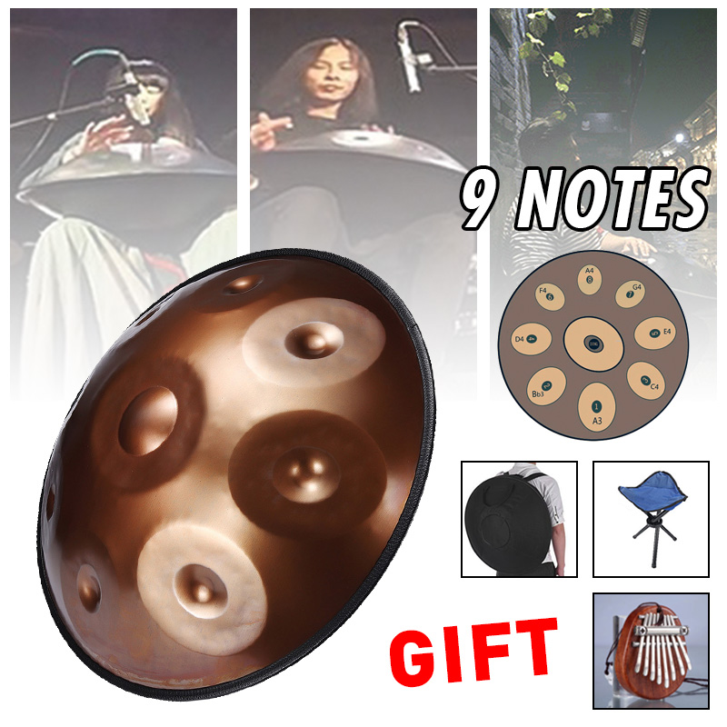 Upgraded Percussion Drum 9 Notes 432Hz Antique F major D Minor Music Drums Percussion Music Instruments +Bag+Mini Mbira+Stand