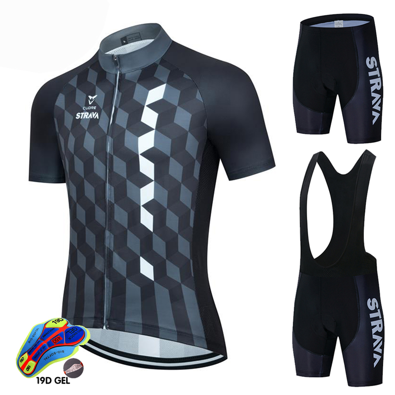 2021 Summer Cycling Jersey Set STRAVA Breathable Team Racing Sport Bicycle Jersey Mens Cycling Clothing Short Bike Jersey