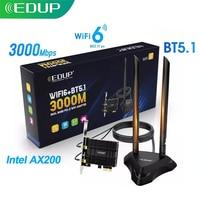 EDUP Wifi de doble banda 6 3000Mbps adaptador inalámbrico PCIe Intel AX200 Bluetooth 5,1 802.11AX redes PCIExpress de Windows para Windows 10 PC