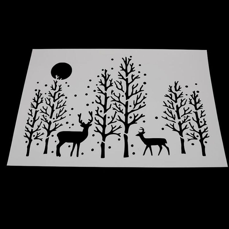 1pc Stencils Bullet Journal Forest Deer Painting Template DIY Embossing Stencils Accessories For Scrapbooking Stencil Reusable