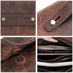 Image 5 - CONTACTS cartera de mano de gran capacidad para hombre, bolso largo de cuero de Caballo Loco, multifunción, para pasaporte