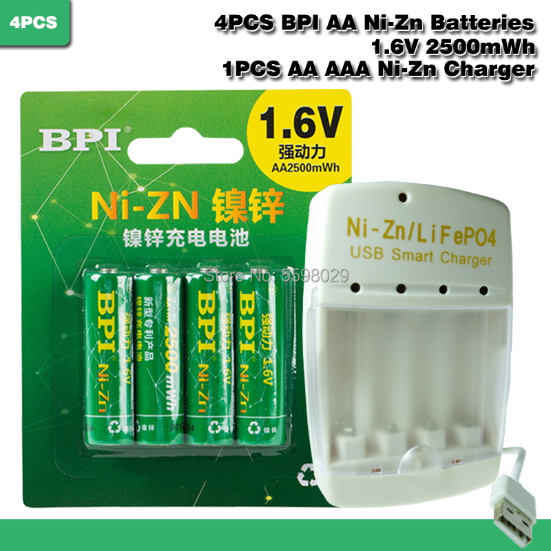 4pcs Ni-Zn <font><b>1.6V</b></font> <font><b>AA</b></font> 2500mWh Rechargeable <font><b>Battery</b></font> + 1pcs <font><b>AA</b></font>/AAA LiPO4 Ni-Zn USB Smart charger image