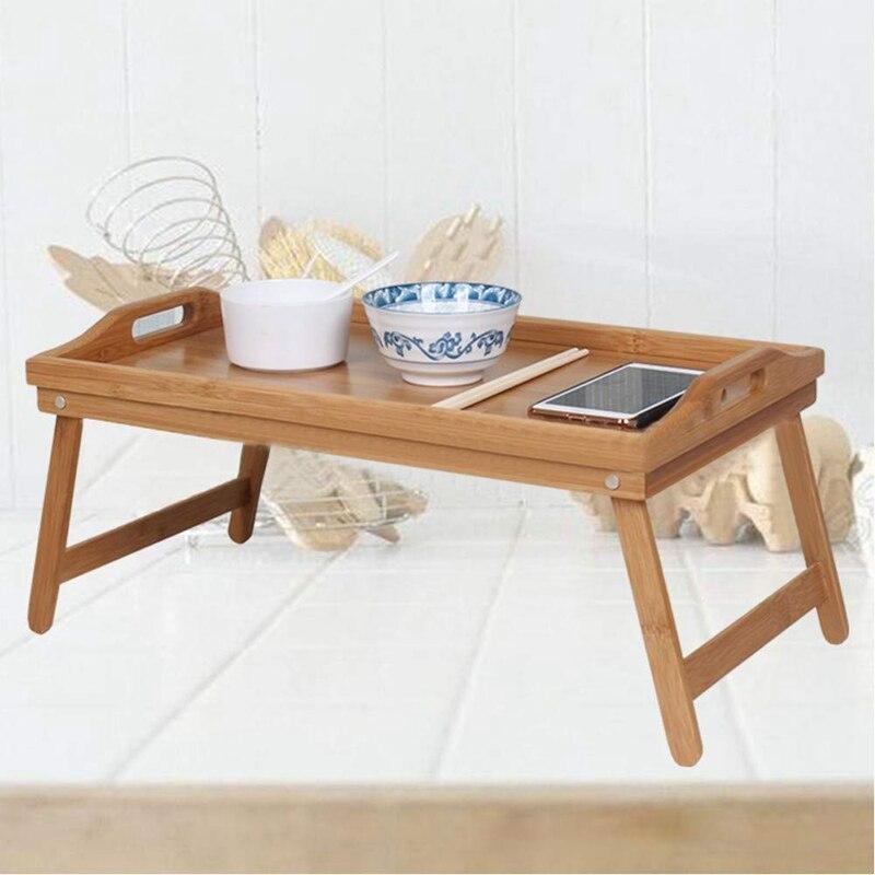 Натуральный Бамбуковый поднос для сервировки завтрака с ручкой, сервировка завтрака в кровати или использование в качестве ТВ-стола складная кровать стол для ноутбука-3