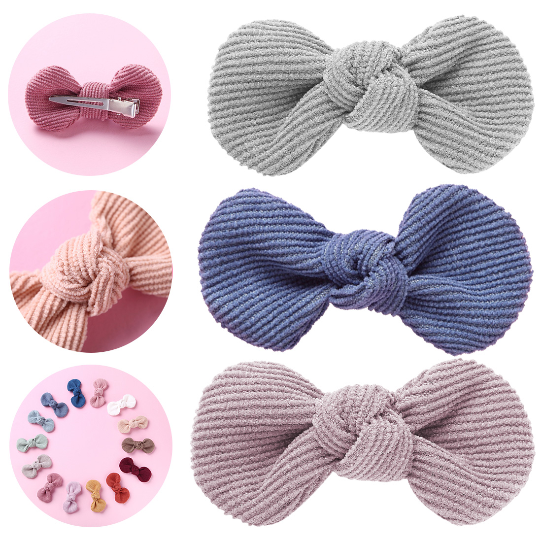 2019 Winter Corduroy BOW Hair Clip Or Headband, Hand Tied Bow Nylon Headbands, Baby Shower Gift, Girls Hair Accessories