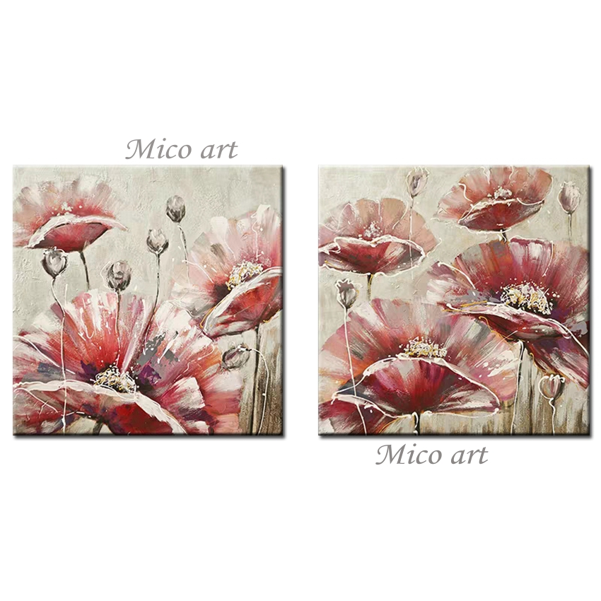 Abstract 2 Panel Canvas Art Pieces Flower Oil Painting 100% Hand Painted Canvas Wall Artwork Picture Paintings For Bedroom Decor