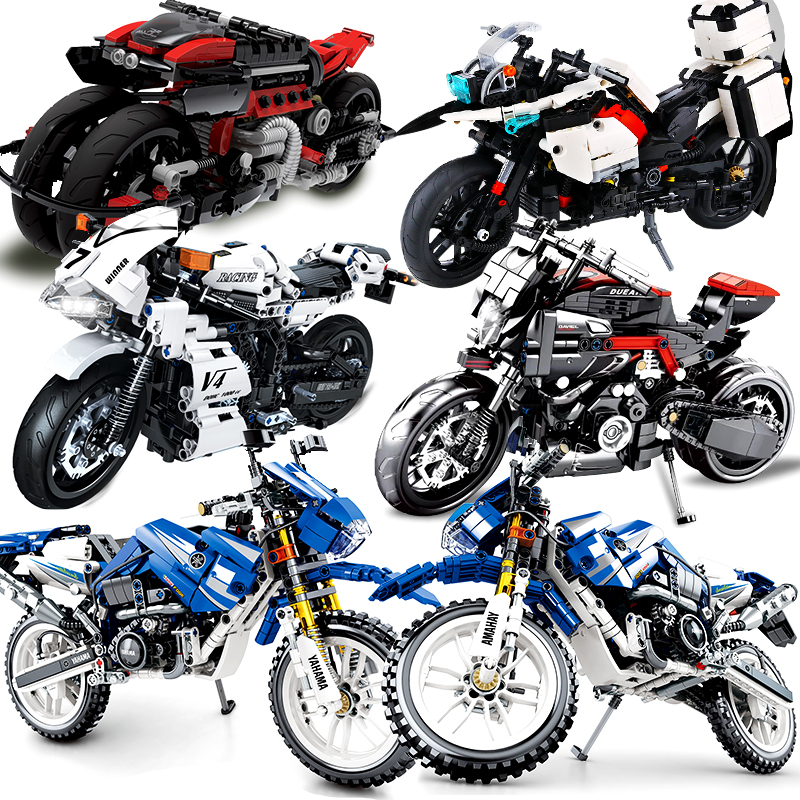 Motorcycle Technic Compatible Legoed Moto Racing Motorbike City Vehicle Sets Off Road Model Building Blocks MOC Kits Kids Toys
