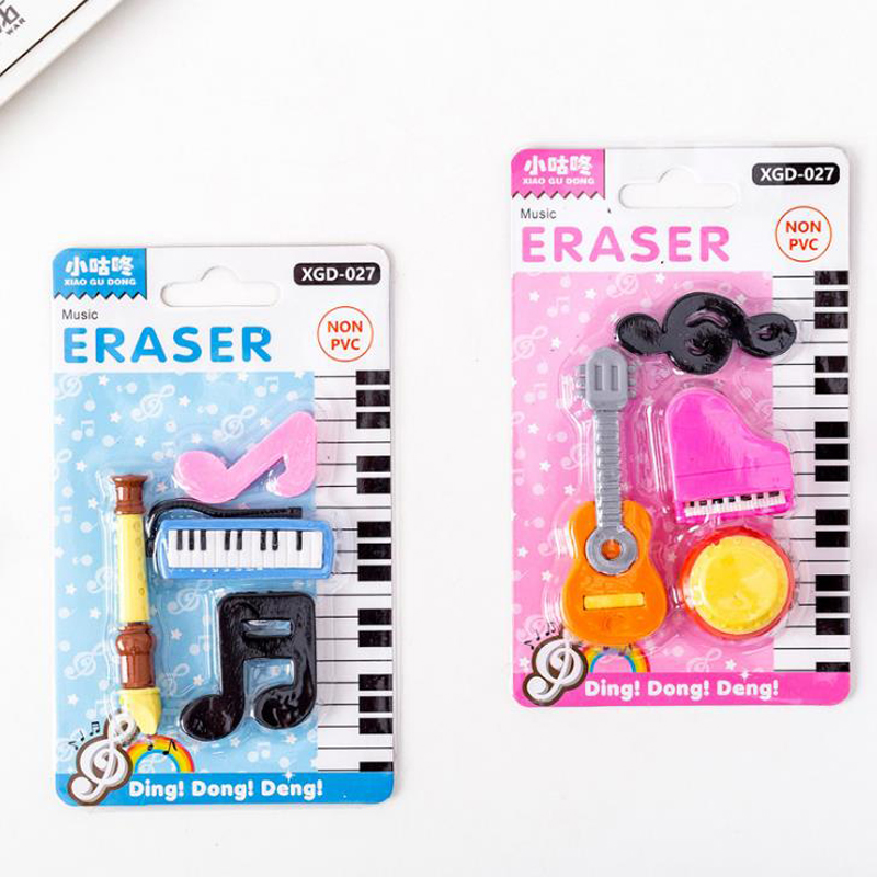 4 Pcs/pack Cartoon Mini Music Instruments Series Piano Guitar Rubber Pencil Erasers Children Stationery Gift Prizes Supply