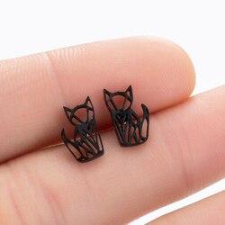 SMJEL Cute Origami Cat Stud Earrings for Women Hollow Fox Cat Moon Mouse Earrings Animal Girls Kids Jewelry