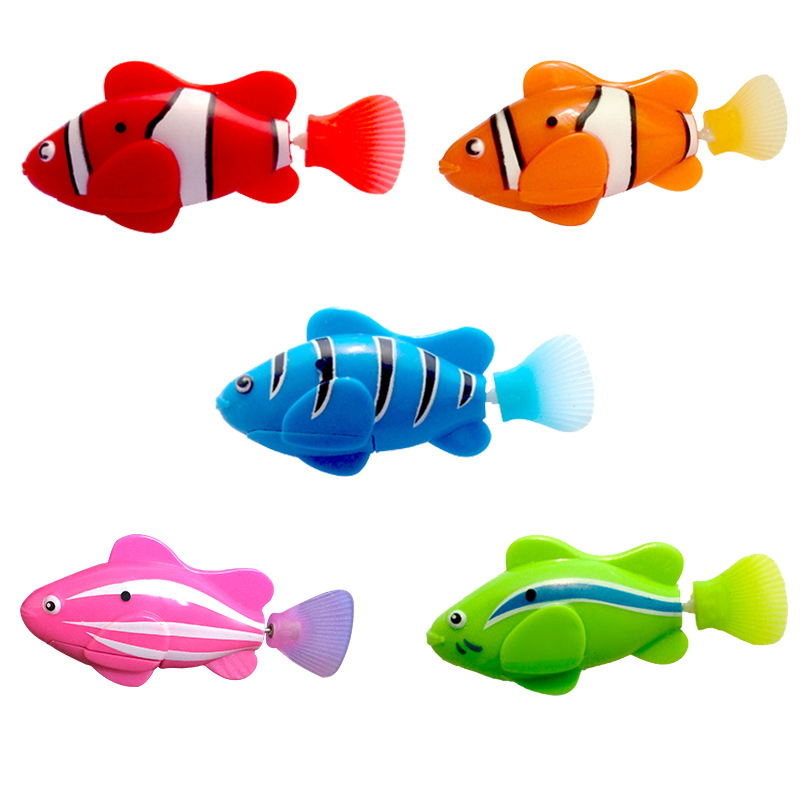 Electric Induction Flash Swimming Fish Baby Pet Clownfish Simulation Fish Bathroom Toys Water Toys Children Gift