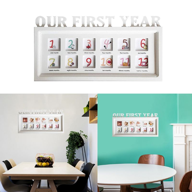 Infant 12 Months Photo Frame Wooden Baby First Year Growth Record Creative Newborn Photos Display Decoration E65D