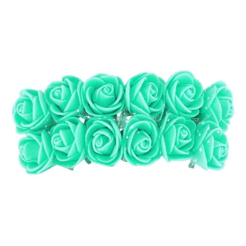 12 pièces bricolage fleurs artificielles décor Mini mousse Rose couronne fleurs de mariée décor de voiture Scrapbooking couronne boîte cadeau ornements de fleurs
