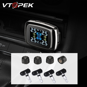 Vtopek TPMS Tire Pressure Monitoring System LCD Car Tire Pressure Alarm System 4 Sensors Cigarette Lighter USB Output(China)
