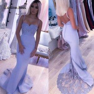 Bbonlinedress Lavender Mermaid Prom Dresses 2020 Lace Beaded Spaghetti Strap Backless Evening Dress Long robe de soiree