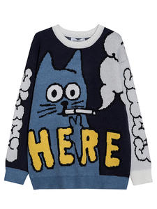 Men Sweater Pullover Aolamegs Cat-Print-O-Nec Funny Autumn High-Street Casual Fashion