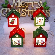 Christmas Tree Colorful Small Wooden House With Lights Hanging Decoration Accessories