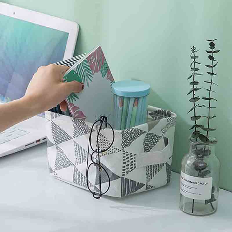 Linen Fabric Basket Foldable Storage Box Waterproof with Handle Container Desktop Decoration Organizer Home Storage Organization
