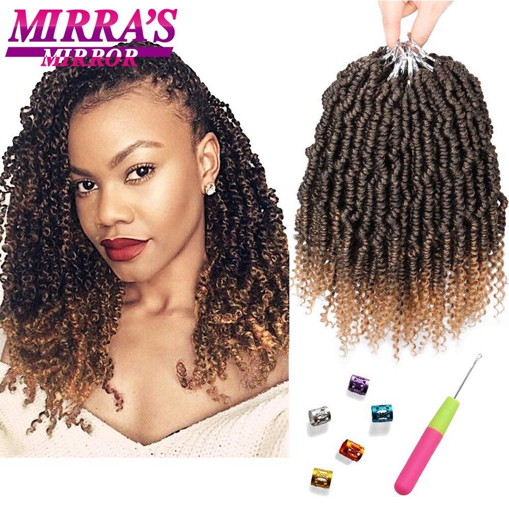 Зеркальные вязаные крючком волосы Mirra's, пружинные скрученные волосы 10 дюймов 14 дюймов 18 дюймов, Короткие страстные вязанные крючком волосы, ...