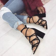 Liren 2019 Summer Fashion Sexy Lady Casual Gladiator Sandals for Women Cross-tied Lace-up Square High Heels Open Toe Shoes women gladiator sandals cross tied open toe high heels pumps cut outs serpentine lace up sandals party wedding sexy ladies shoes