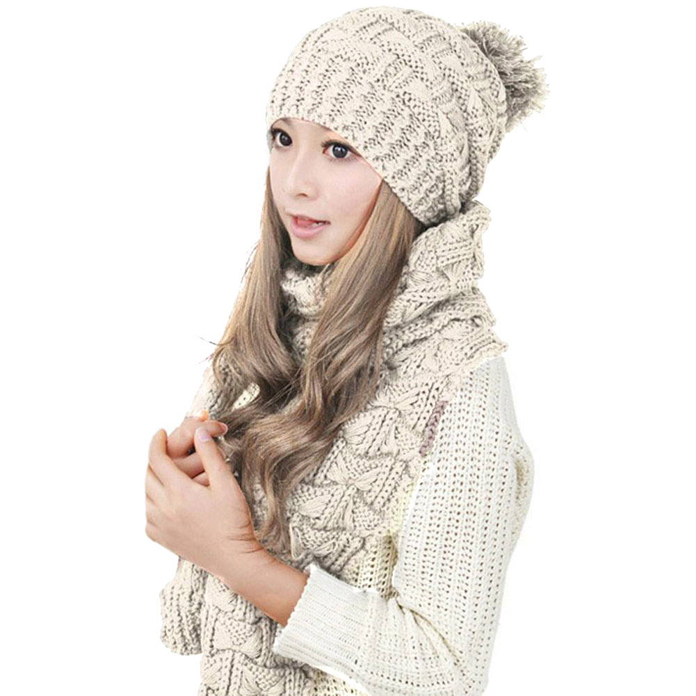 Hot Selling Fashion Winter Hat Scarf Cute Knit Crochet Beanies Cap Hats For Women Warm Scarf And Hat Twist Knitted Hat -