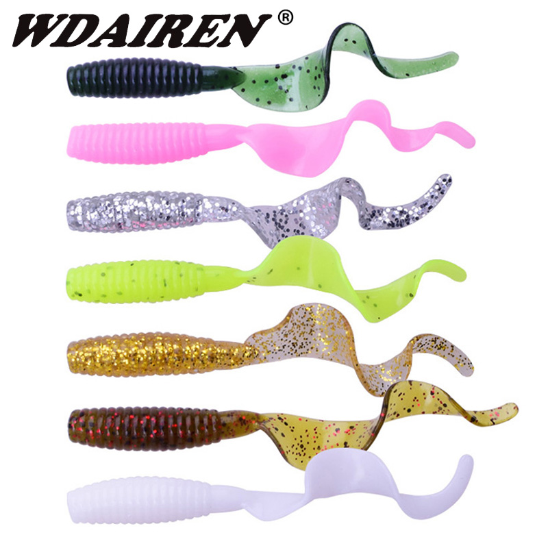 10pcs/lot Fishing Lures Artificial Worm Soft Bait 6cm 1.8g Jig Wobbler Shrimp Flavor Additive Silicone Baits Bass Fishing Tackle
