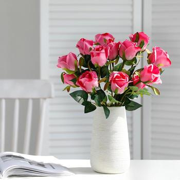 10 pc/set 50 cm Champagne Rose Flowers Bundle Red Roses Artificial Flower Bouquet Wedding Table Decor Home Decoration