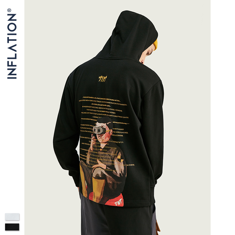 INFLATION Men Hooded Oversized Hoodies With Children Back Print  Hip Hop Mens Hoodies Sudaderas Hombre Polerones Hombre 9634W