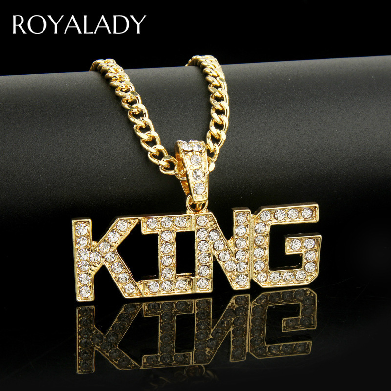 Men HipHop KING Letter Zircon Pendant Necklace Bling Iced Out Cuban Link Gold Chain Crystal Rhinestone Male Fashion Jewelry Gift