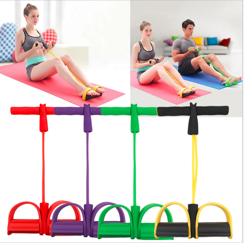 Resistance Bands Yoga Exercise Fitness Band 2/4 Tubes Rubber Loop Tube Bands Gym Pedal Exercise Pilates Yoga Indoor Sports