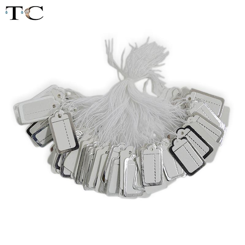 100 Pcs Jewelry Strung Pricing Price Tags With String Silver Merchandise Cloth Label,FREE SHIPING