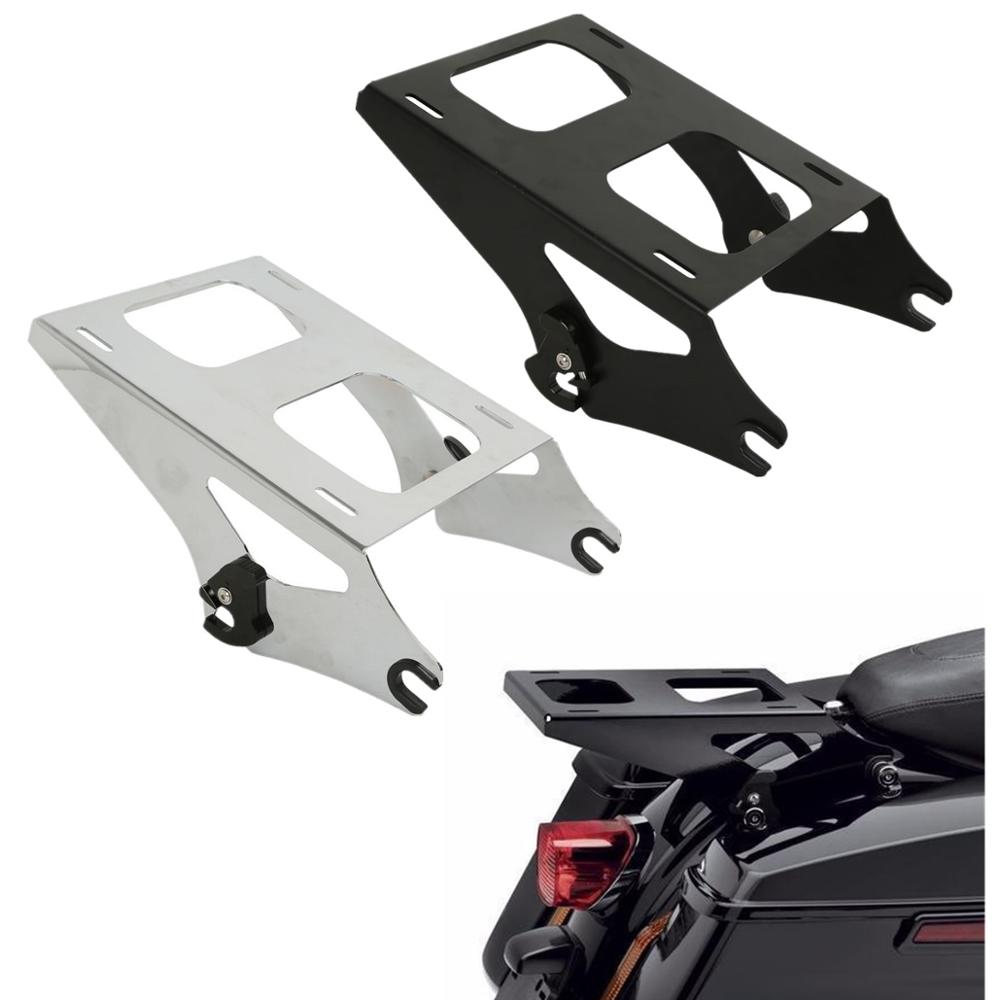 Black or Chorme Detachable 2 Two Up Tour Pak Pack Mounting Luggage Rack For Harley Touring Road King Street Glide Road Glide 2014-2019 black