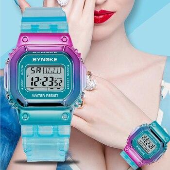 SYNOKE Unique Design Women Digital Watches Fashion Waterproof LED Unisex Watch Waterproof Ladies Electronic Relogio Feminino