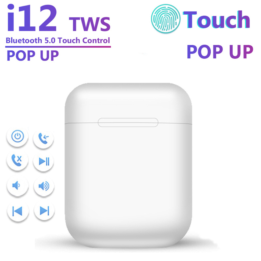 I12 TWS Wireless Touch Control Earphone 5.0  Bluetooth Hands Free Business Sport Stereo Earbuds For IPhone Xiaomi Huawei Samsung