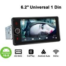 Evrensel 1 din Android 10 araba radyo Stereo otomatik Autoradio multimedya oynatıcı araba ürünler tek Din kafa ünitesi Carplay 5GHz WIF