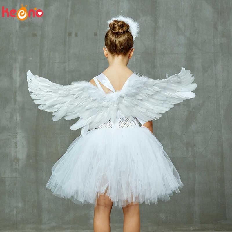 الحارس الملاك الاطفال هالوين زي الأبيض ريشة الملاك بنات توتو فستان مع أجنحة و هالو عيد الميلاد المهد غابرييل الملابس
