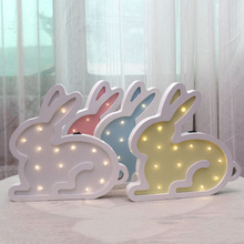 Ins Rabbit Wooden led Night Wall Lamp Nordic Childrens Room Decoration Fairy Battery Gift Christmas