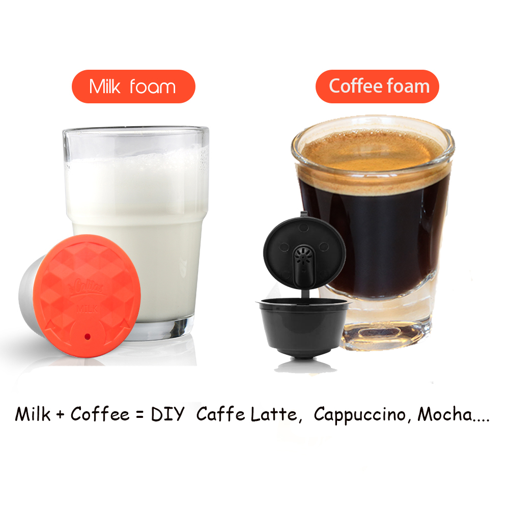 I Cafilas Stainless Steel Reusable Coffee Capsules And Milk Combo Set Compatible With Nescafe Dolce Gusto Brewer,Stainless Steel