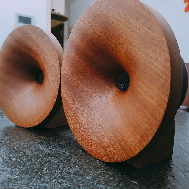 Çift 2 adet MeloDavid ses titanyum Ti dome hunili yüksek frekanslı hoparlör 98db + ahşap destek