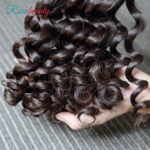 Image 4 - Rosabeauty extensiones de cabello 10A, 3 en oferta de extensiones de cabello Natural, pelo virgen indio suelto, paquete de ondas profundas, 100%, extensión de cabello humano de 10  28 pulgadas