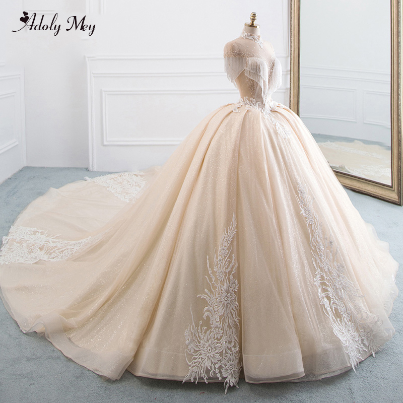 Adoly Mey Gorgeous Appliques Chapel Train Ball Gown Wedding Dresses 2020 Luxury Cap Sleeve Beaded High Neck Vintage Bridal Gown