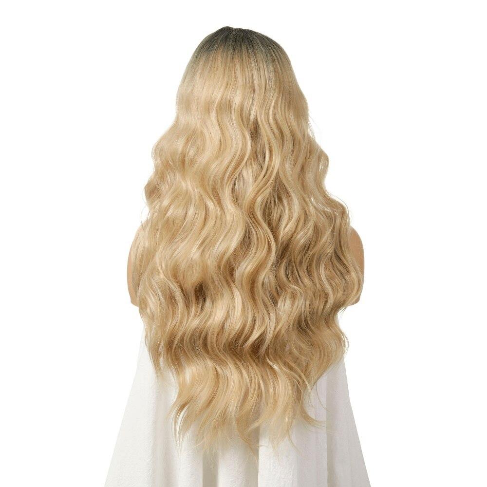 Ombre loira peruca ondulada para branco preto