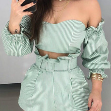 Women  2 Piece Outfits Striped Off Shoulder Frill Hem Tops & Shorts Set