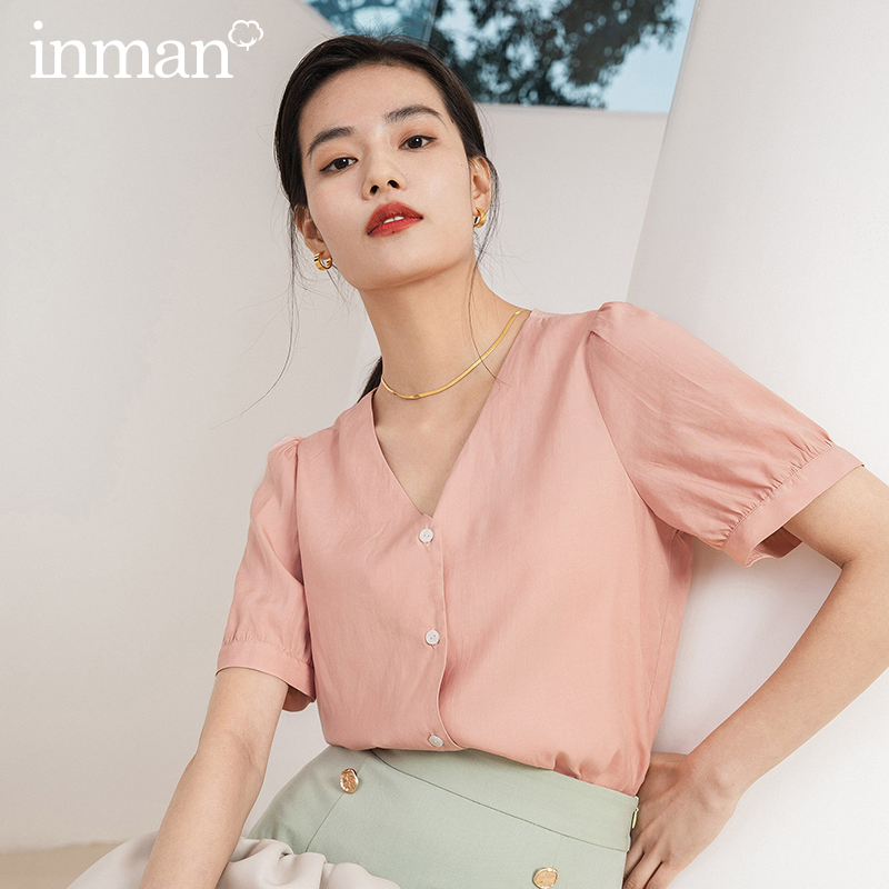 INMAN Office Style 2020 Summer New Arrial V-neck Elegant Temperament Sweet Short Sleeve Blouse