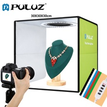 PULUZ 30cm Lightbox Mini Foldable Photo Studio Box LED Light Box Photography Studio Shooting Tent Box Kit & 6 Color Backdrops