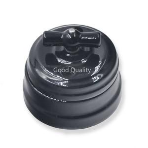 Image 4 - Home Improvement European Ceramic Switch Wall Knob Light Switch 10A Insulating Switch Black White