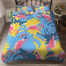 Sets of Linen Bedding Cover Cartoon Flamingo Printed Home Textiles with Pillowcases Bed Duvet Cover