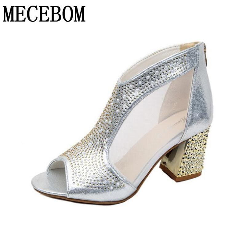 Spring Women Leather casual Sandal High Thick Heel Sexy Crystal Platform Zipper Peep Toe Slip On Lady Shoes Zapatos Mujer 5515W in Women 39 s Pumps from Shoes
