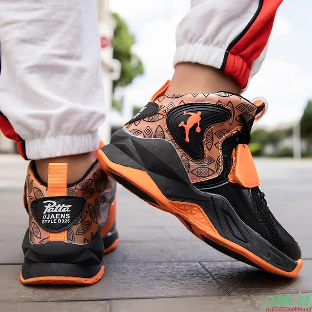 Zapatillas deportivas de baloncesto para niños, Zapatos altos de marca para gimnasio, botas de baloncesto para jóvenes, novedad 5